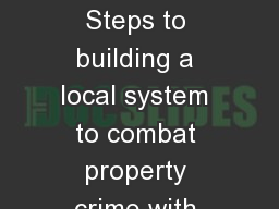 Secondhand  ordinance Steps to building a local system to combat property crime with BWI and South