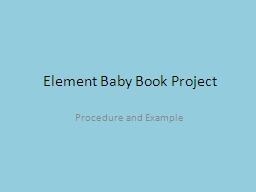 Element Baby Book Project