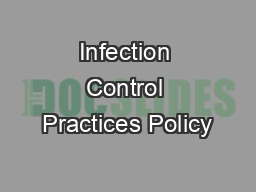 Infection Control Practices Policy