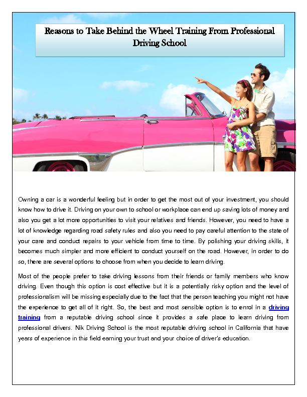 Reasons to Take Behind the Wheel Training From Professional Driving School