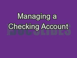 Managing a Checking Account PowerPoint PPT Presentation