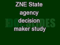 ZNE State agency decision maker study