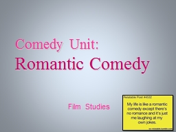 Film Studies Comedy Unit: