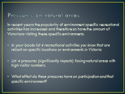 Pressures on natural areas