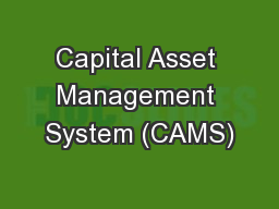 Capital Asset Management System (CAMS)