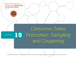 Consumer Sales Promotion: Sampling and Couponing