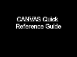 CANVAS Quick Reference Guide