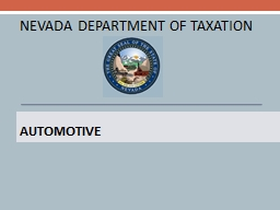 Automotive   NEVADA DEPARTMENT OF TAXATION
