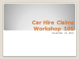 Car Hire Claims Workshop 101
