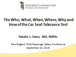 The Who, What, When, Where, Why and How of the Car Seat Tolerance Test