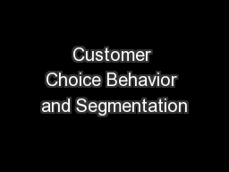 Customer Choice Behavior and Segmentation