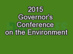 2015 Governor's Conference on the Environment