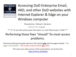 Accessing DoD Enterprise Email, AKO, and other DoD websites with Internet Explorer & Edge on yo
