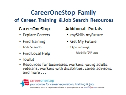 CareerOneStop Family of Career, Training & Job