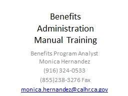Benefits Administration Manual Training