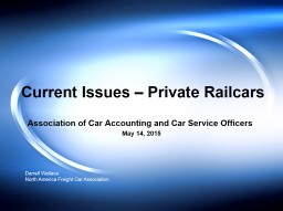 Current Issues – Private Railcars