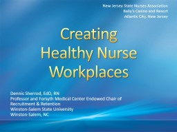 Creating Healthy Nurse Workplaces PowerPoint PPT Presentation