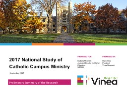 2017 National Study of Catholic Campus Ministry PowerPoint PPT Presentation