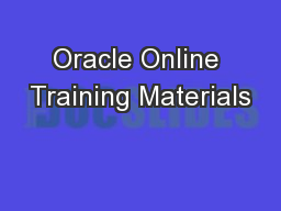 Oracle Online Training Materials