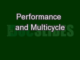 Performance and Multicycle