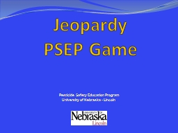 Jeopardy PSEP Game Pesticide Safety Education Program