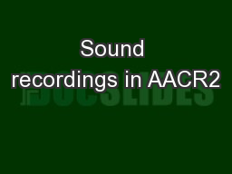 Sound recordings in AACR2