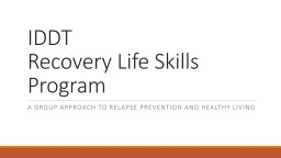 IDDT   Recovery Life Skills Program