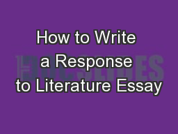 How to Write a Response to Literature Essay