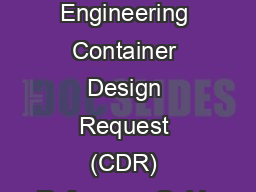 Package Engineering Container Design Request (CDR) Reference Guide