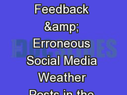 Managing Viewer Feedback & Erroneous Social Media Weather Posts in the Digital Age