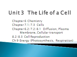 Unit 3  The Life of a Cell