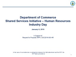 Department of Commerce Shared Services Initiative – Human Resources