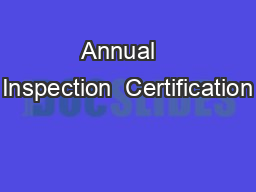 Annual   Inspection  Certification