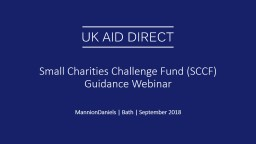 Small Charities Challenge Fund (SCCF) Guidance Webinar