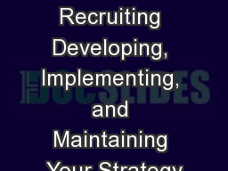 Social Media Recruiting Developing, Implementing, and Maintaining Your Strategy