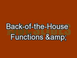 Back-of-the-House Functions &