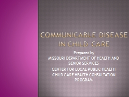 COMMUNICABLE Disease in child care
