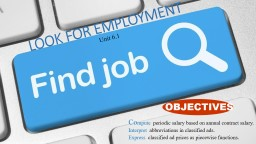 LOOK  FOR EMPLOYMENT Unit 6.1 PowerPoint PPT Presentation