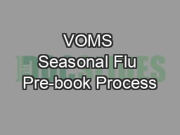 VOMS Seasonal Flu Pre-book Process