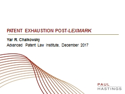 PATEnT EXHAUSTION POST- LEXMARK