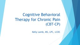 Cognitive Behavioral Therapy for Chronic Pain