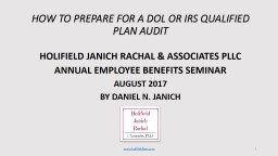 HOW TO PREPARE FOR A DOL OR IRS QUALIFIED PLAN AUDIT
