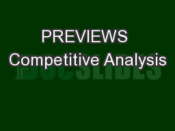 PREVIEWS Competitive Analysis