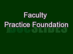 Faculty Practice Foundation