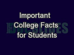 Important  College Facts for Students