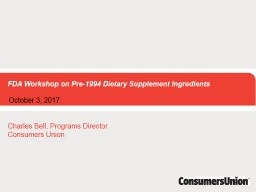 FDA Workshop on Pre-1994 Dietary Supplement Ingredients