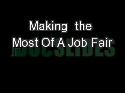 Making  the Most Of A Job Fair