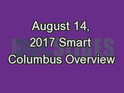 August 14, 2017 Smart Columbus Overview