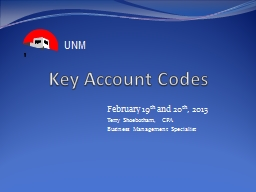 Key Account Codes February 19 PowerPoint PPT Presentation