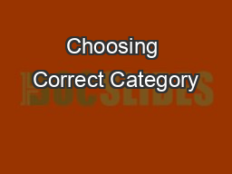 Choosing Correct Category